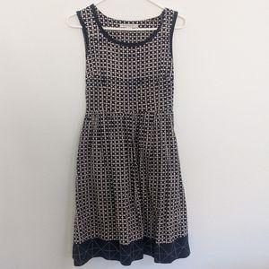 Mata Traders Tan and Blue Abstract Print Dress